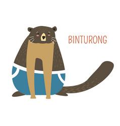 Sad fat binturong childish cartoon book character vector