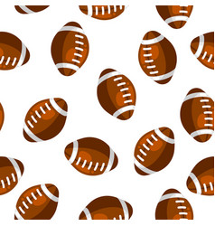 Seamless pattern with brown rugby balls in flat vector