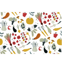 seamless pattern with hand drawn colorful doodle vector image