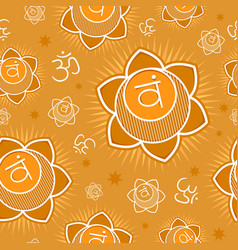 seamless pattern with svadhisthana chakra vector image