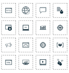 Seo icons set collection of questionnaire search vector