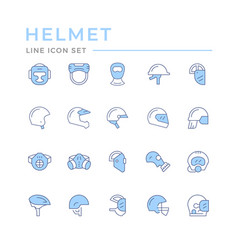 set color line icons helmets and masks vector image