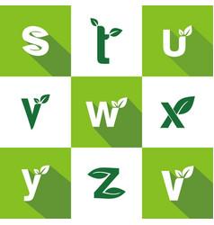 Set letter leaf logo design vector