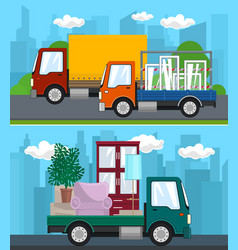 set of transportation services and logistics vector image