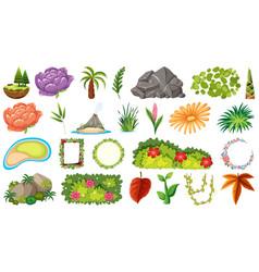 set ornamental plants vector image