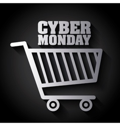 Shopping cart and cyber monday design vector image