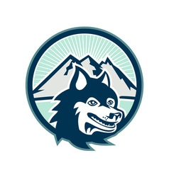 Siberian Husky Dog Head Mountain Retro vector