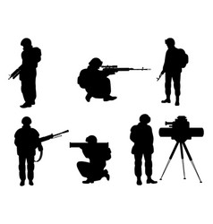 Silhouettes of soldiers with weapons vector