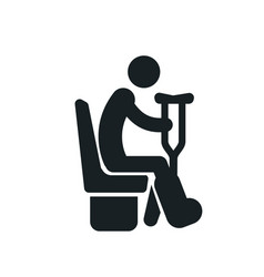 sitting disabled man with a crutches detailed vector image