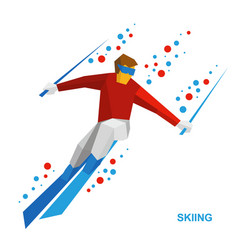 skiing - cartoon skier running downhill vector image