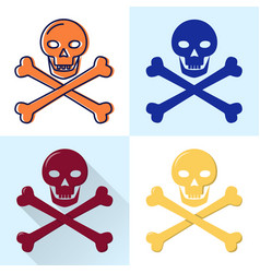 Skull and crossbones icon set in flat and line vector