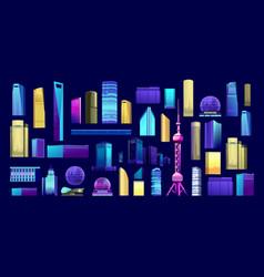 skyscraper building set vector image