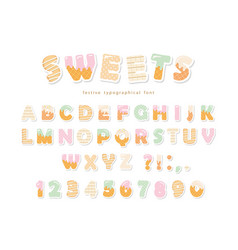 sweets bakery font design funny latin paper vector image vector image