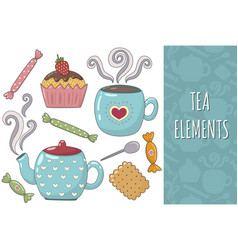 tea isolated elements collection cozy set vector image