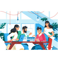 team working in office vector image