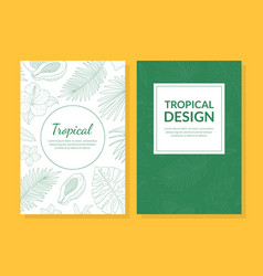 tropical design card template with hand drawn vector image