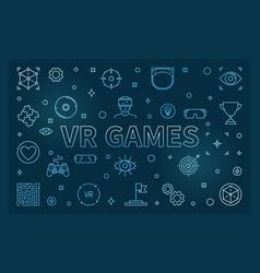 vr games blue outline vector image