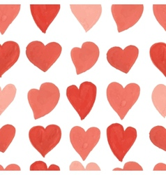 Watercolor red and pink hearts seamless pattern vector image