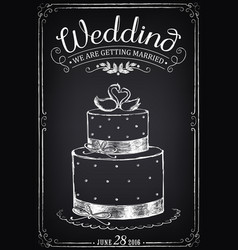 Wedding invitation card with cake vector