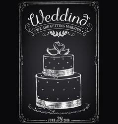 Wedding invitation card with wedding cake vector