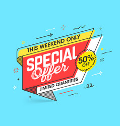 Weekend special offer banner template in flat vector