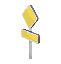 Yellow road sign icon cartoon style vector