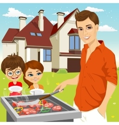 Young happy father barbecuing meat on the grill vector
