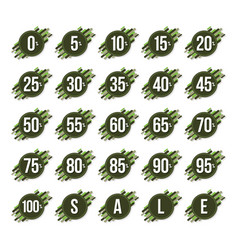 zero to one hundred percent green sign for sale vector image
