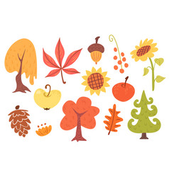 autumn cartoon set of plants vector image