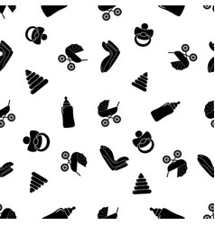 child seamless black and white pattern with pram vector image vector image