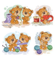 set of clip art of teddy vector image vector image