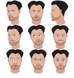 Set of variation of emotions of the same man vector image