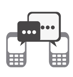 silhouette set tech cellphone and dialog box icon vector image