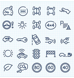 Car interface thin line icons set vector image