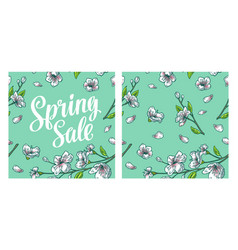 seamless pattern sakura blossom cherry branch vector image