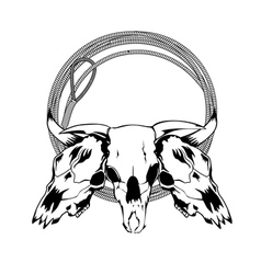 skull bull and lasso vector image vector image