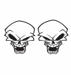 twin skull tattoo vector image vector image