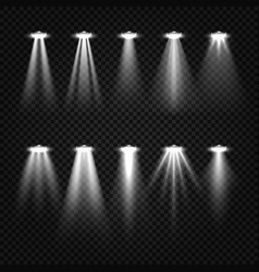 white beam lights spotlights isolated on dark vector image vector image