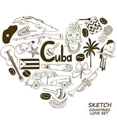 Cuban symbols in heart shape concept vector image vector image