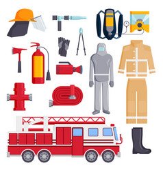 firefighter elements coloured fire department vector image