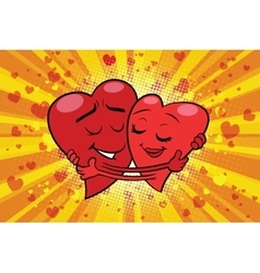 Hug couple love Valentine vector image
