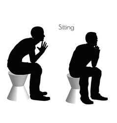 Man in sitting pose on white background vector