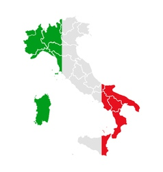 Map and flag of Italy vector image