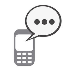 silhouette tech cellphone and dialog box icon flat vector image
