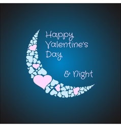 Valentines card background with the moon made from vector image vector image