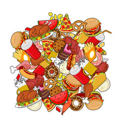 food doodle many feed pile sign of meat pizza and vector image vector image