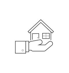Hand holding house line icon vector image