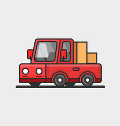 modern red pickup car icon delivery concept flat vector image vector image