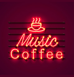 neon music coffee text icon signboard vector image