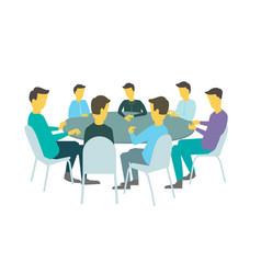 round table talks brainstorm team business people vector image vector image